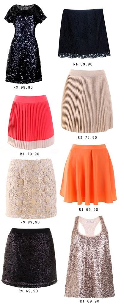 coleção mixed, saia de paetê, saia de renda, saia plissada, saia rodada, vestido de paetê