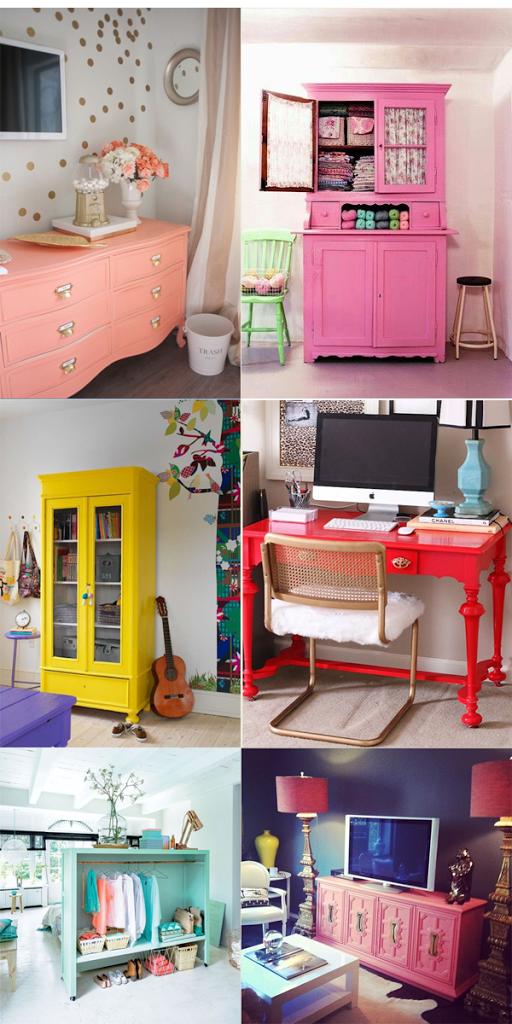 móveis de madeira coloridos