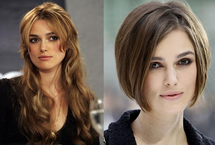 keira Knightley cabelo longo e cabelo curto