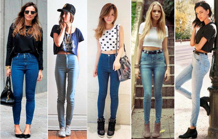calça jeans de cintura alta - look