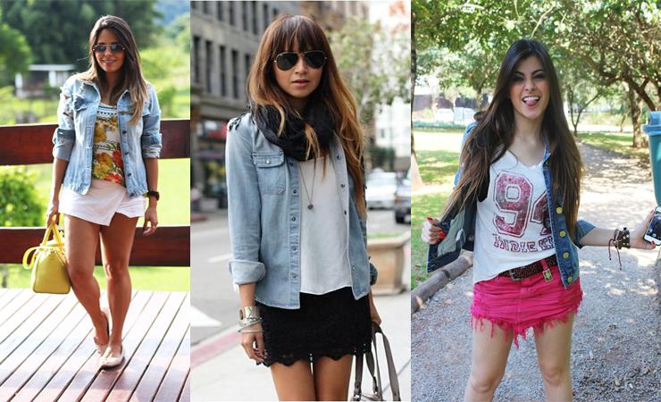 jaqueta jeans com saia look