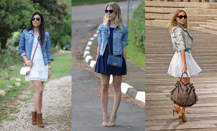 jaqueta jeans com vestido