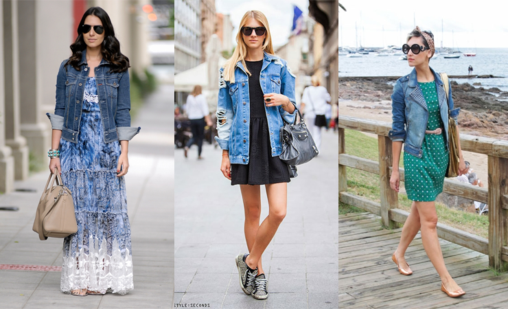 jaqueta jeans vestido look