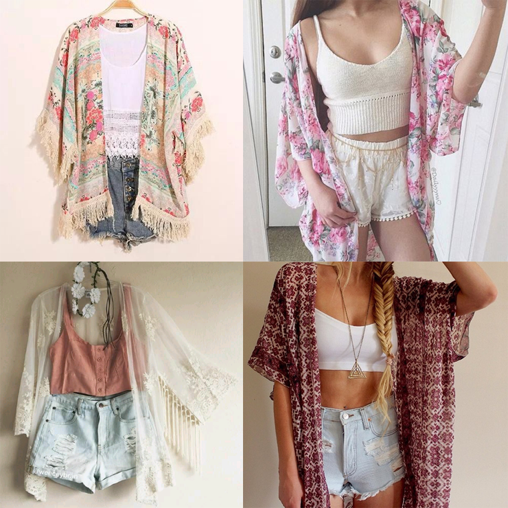 como usar kimono estampado só para meninas